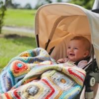 Weegoamigo Crochet Baby Blanket Rupert in pram