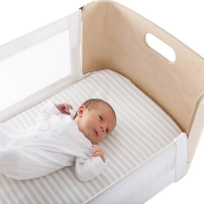 olliella_bednest_grey_stripes_harlequin_dusk with baby