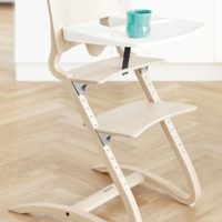 leander high chair natural with tray lifestyle