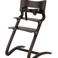 leander high chair walnut with safety bar