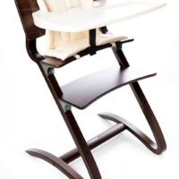 leander high chair walnut with tray and cushion