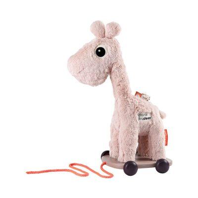 Done by Deer Pull Along Giraffe Powder Pink Raffi