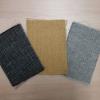 Quax fabric swatches - black, sand grey, saffron